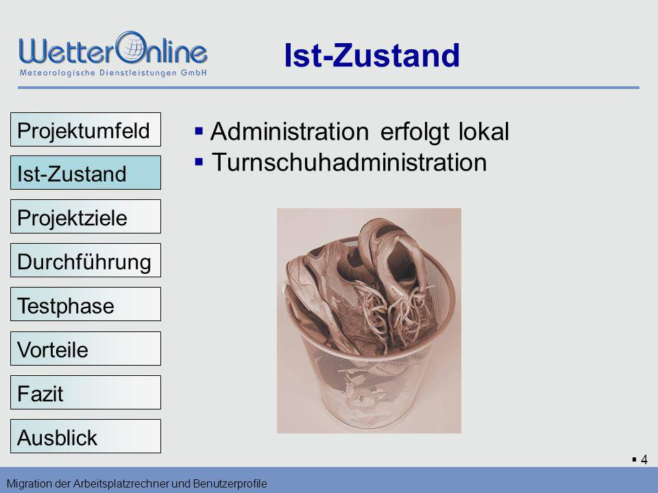 Ist-Zustand Administration erfolgt lokal Turnschuhadministration