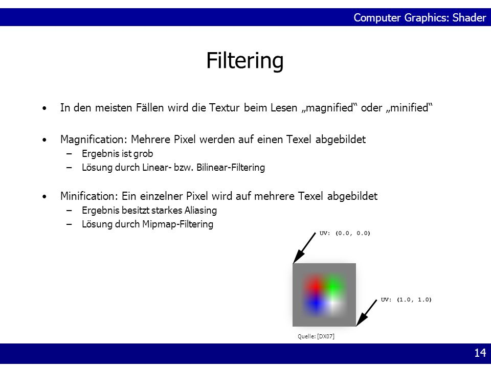 """Filtering In den meisten Fällen wird die Textur beim Lesen """"magnified oder """"minified"""
