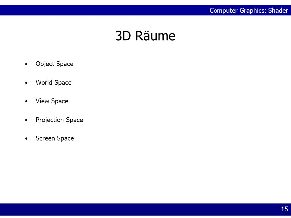 3D Räume Object Space World Space View Space Projection Space