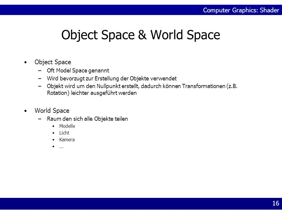 Object Space & World Space