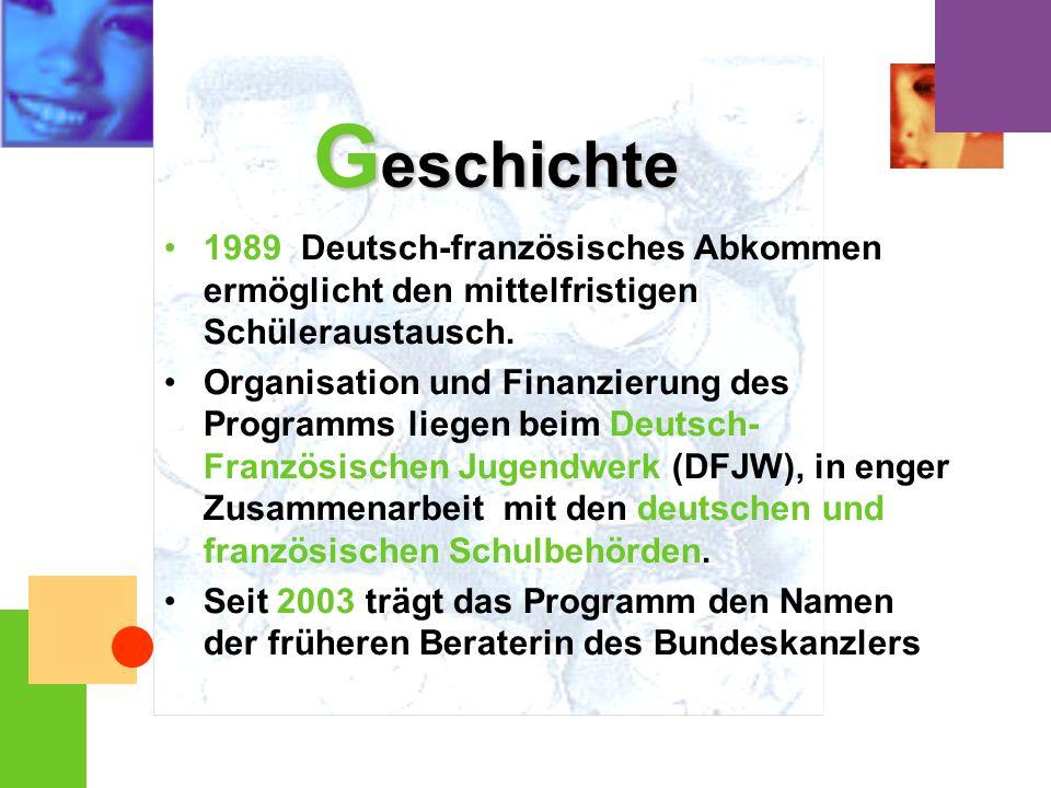 Geschichte 1989 Deutsch-französisches Abkommen ermöglicht den mittelfristigen Schüleraustausch.