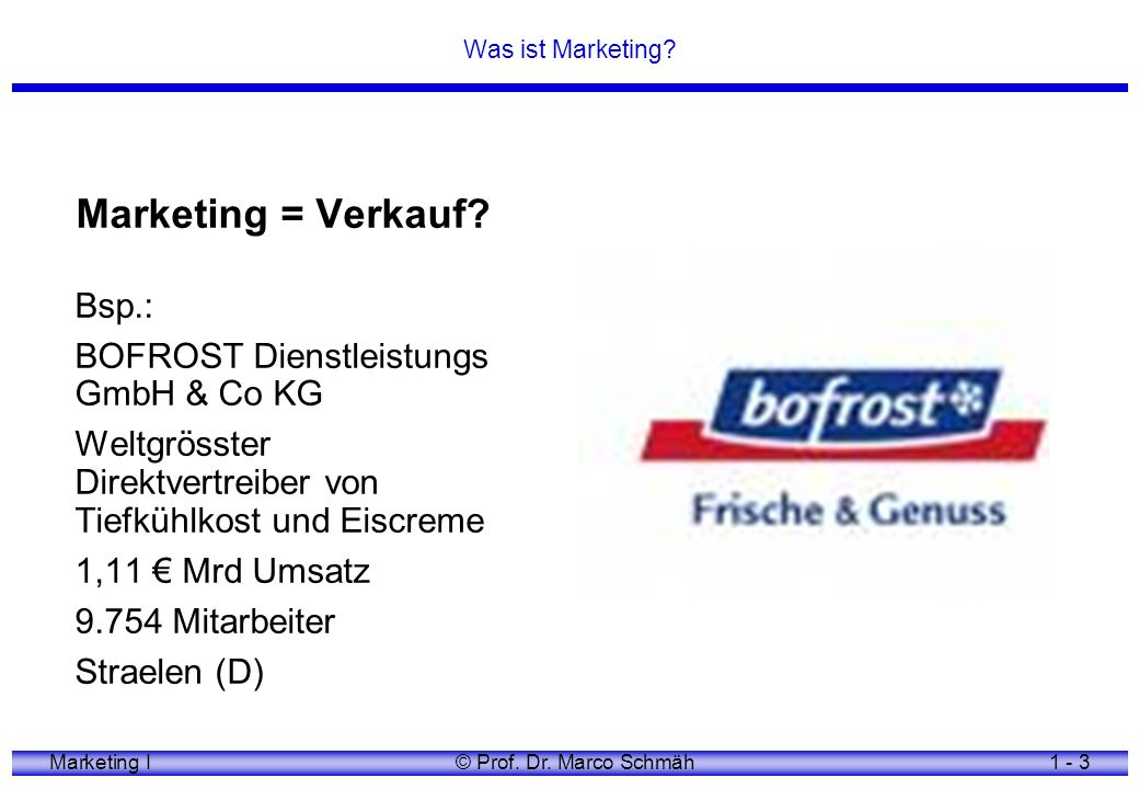 Marketing = Verkauf Bsp.: BOFROST Dienstleistungs GmbH & Co KG