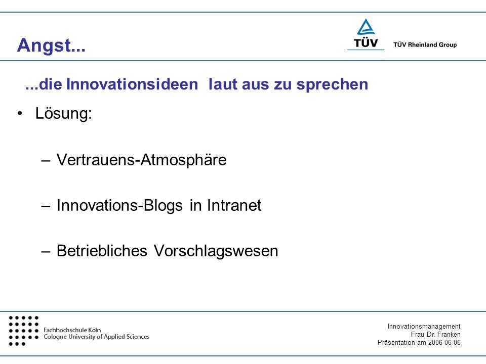 Angst... ...die Innovationsideen laut aus zu sprechen Lösung: