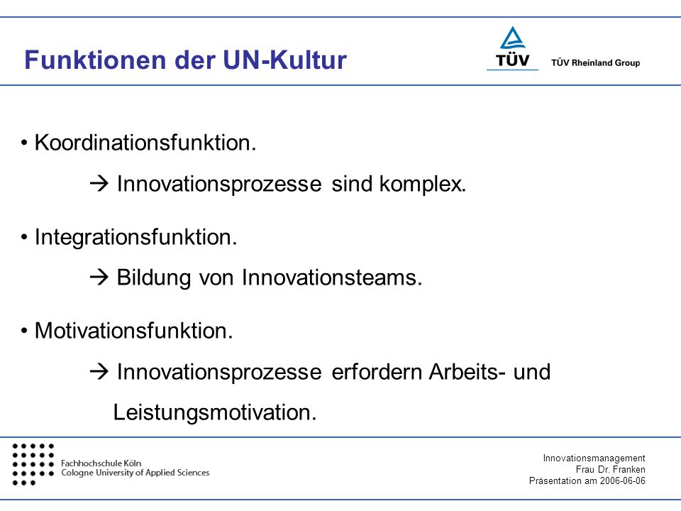 Funktionen der UN-Kultur