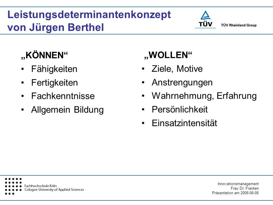 Leistungsdeterminantenkonzept von Jürgen Berthel