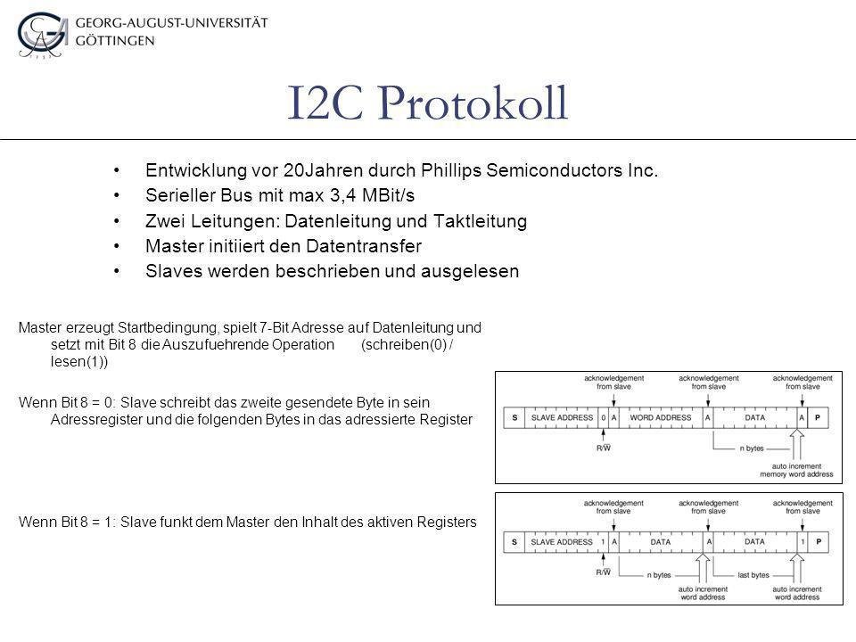 I2C Protokoll Entwicklung vor 20Jahren durch Phillips Semiconductors Inc. Serieller Bus mit max 3,4 MBit/s.