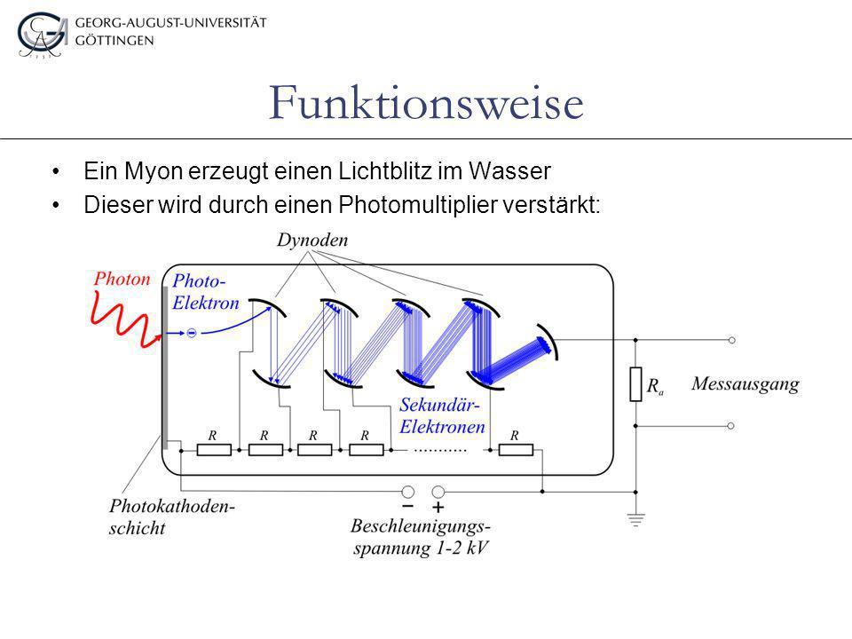 Funktionsweise Ein Myon erzeugt einen Lichtblitz im Wasser