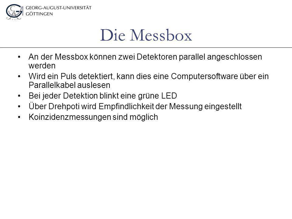 Die Messbox An der Messbox können zwei Detektoren parallel angeschlossen werden.