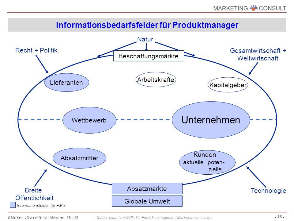 Informationsbedarfsfelder für Produktmanager
