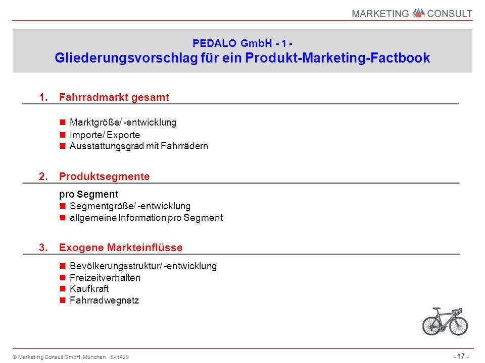 PEDALO GmbH - 1 - Gliederungsvorschlag für ein Produkt-Marketing-Factbook