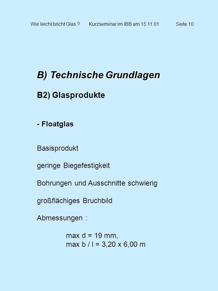 Wie leicht bricht Glas Kurzseminar im IBB am 15.11.01 Seite 10
