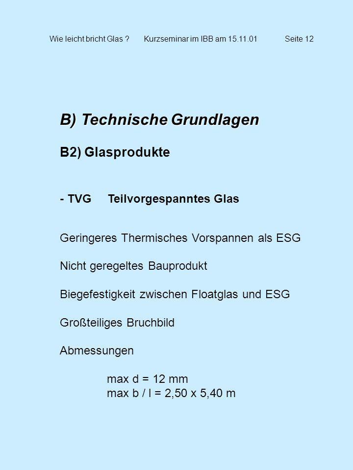 Wie leicht bricht Glas Kurzseminar im IBB am 15.11.01 Seite 12