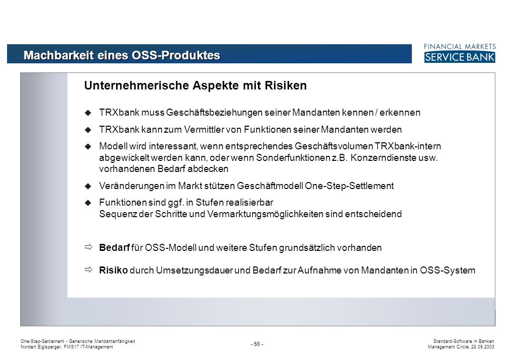 Machbarkeit eines OSS-Produktes