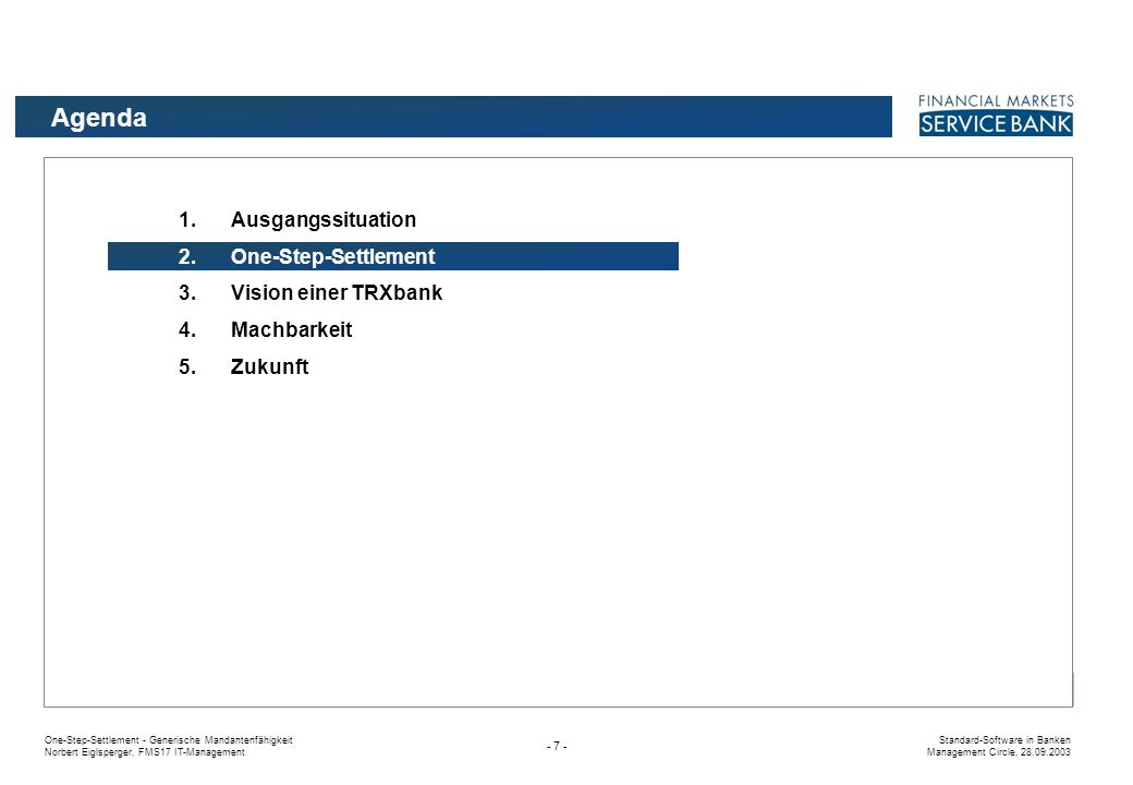 Agenda Ausgangssituation One-Step-Settlement Vision einer TRXbank