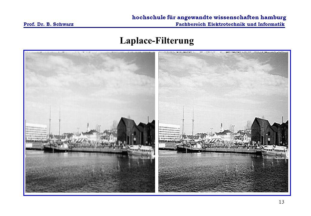 Laplace-Filterung Dieses Kantenverstärkungsfilter bildet auf Basis einer Nachbarschaftsoperation neue Pixel O gemäß: