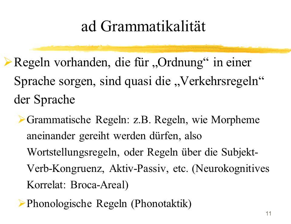 """ad Grammatikalität Regeln vorhanden, die für """"Ordnung in einer Sprache sorgen, sind quasi die """"Verkehrsregeln der Sprache."""