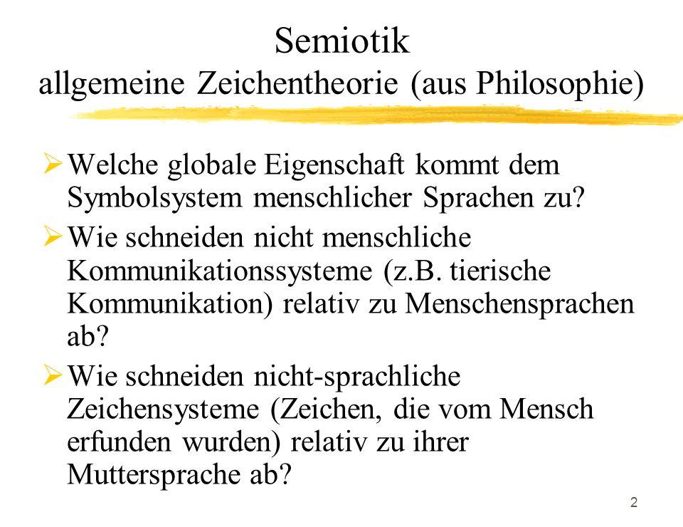 Semiotik allgemeine Zeichentheorie (aus Philosophie)