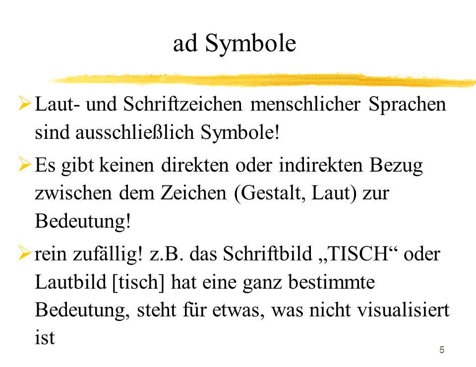 ad Symbole Laut- und Schriftzeichen menschlicher Sprachen sind ausschließlich Symbole!