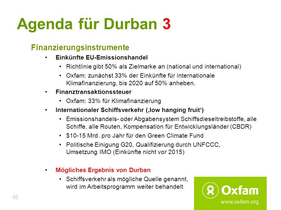 Agenda für Durban 3 Finanzierungsinstrumente