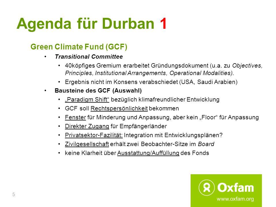Agenda für Durban 1 Green Climate Fund (GCF) Transitional Committee