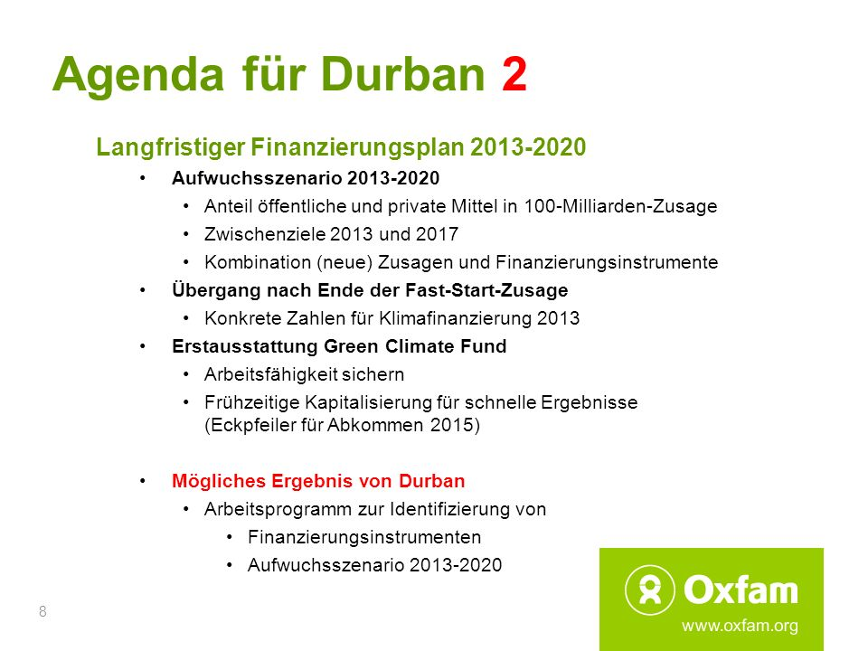 Agenda für Durban 2 Langfristiger Finanzierungsplan 2013-2020