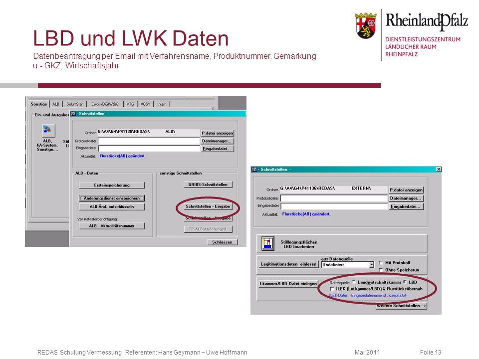 LBD und LWK Daten Datenbeantragung per Email mit Verfahrensname, Produktnummer, Gemarkung u.- GKZ, Wirtschaftsjahr