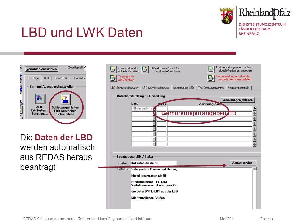 LBD und LWK Daten Gemarkungen angeben !!!!.