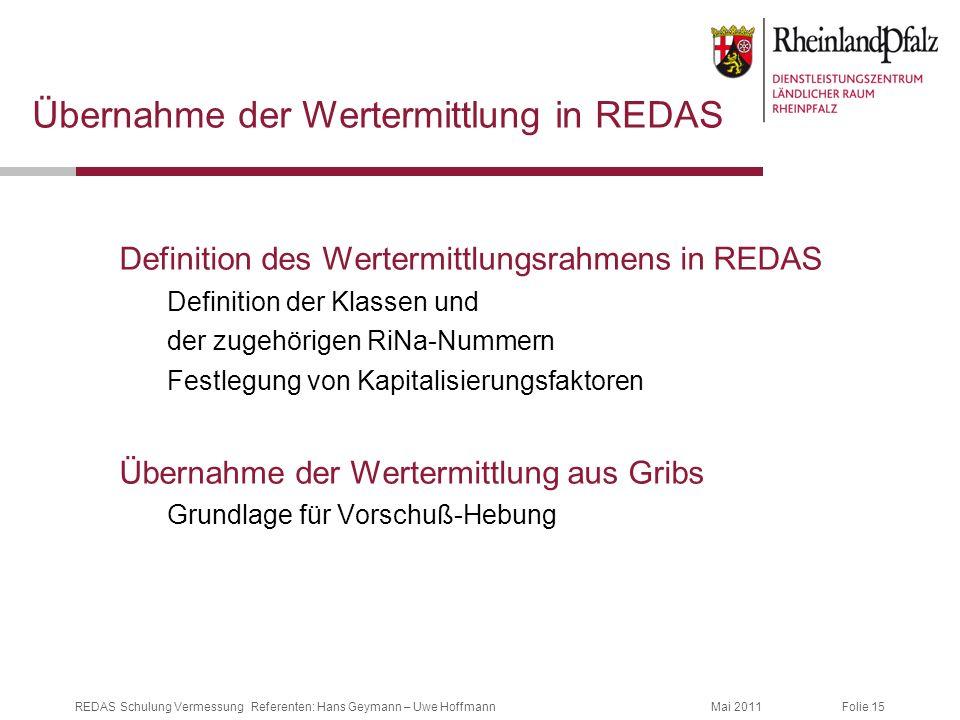 Übernahme der Wertermittlung in REDAS