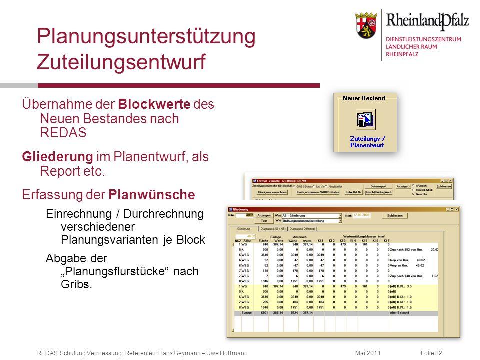 Planungsunterstützung Zuteilungsentwurf