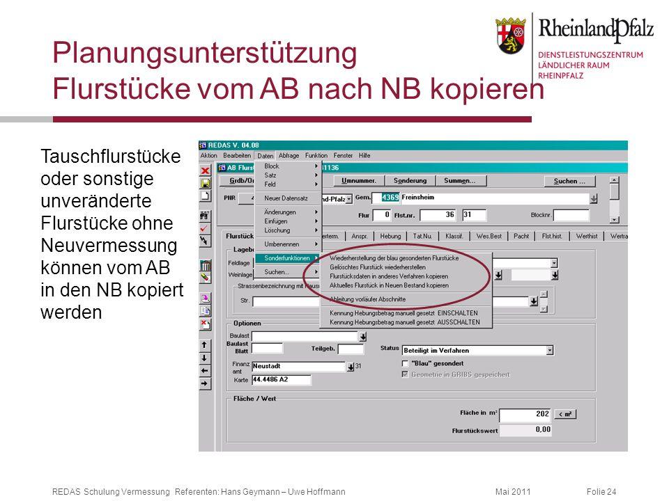 Planungsunterstützung Flurstücke vom AB nach NB kopieren