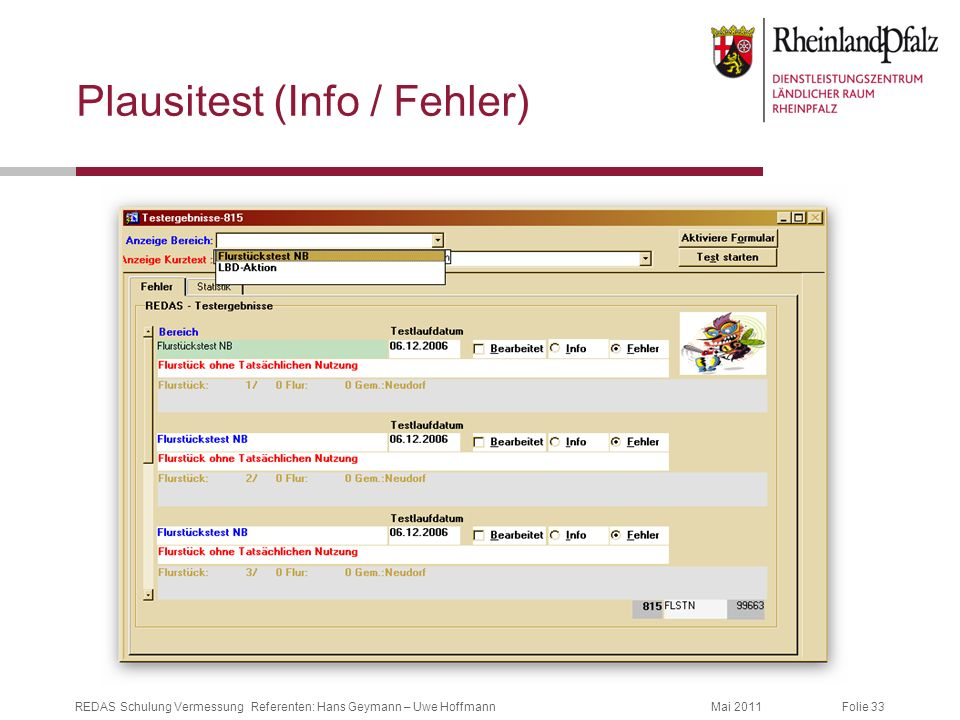 Plausitest (Info / Fehler)