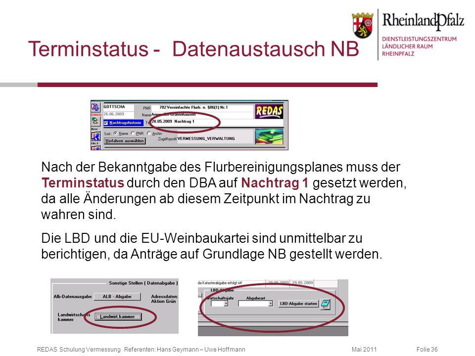 Terminstatus - Datenaustausch NB