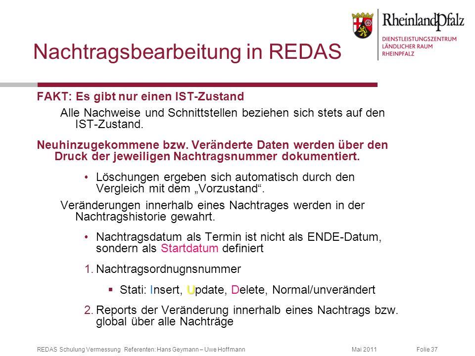 Nachtragsbearbeitung in REDAS
