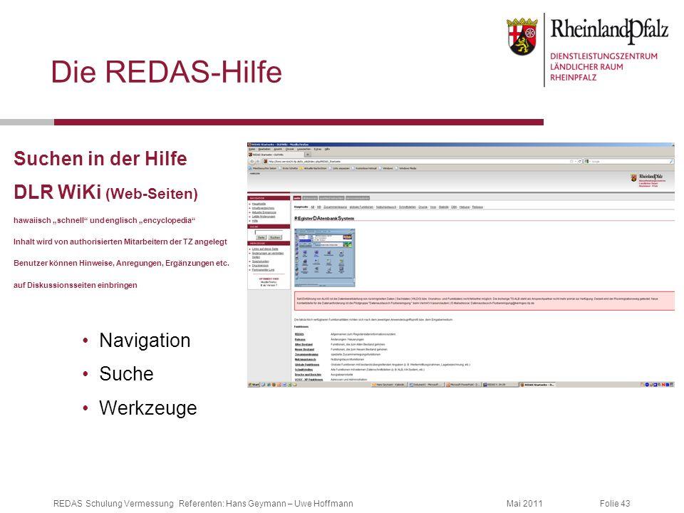 Die REDAS-Hilfe Suchen in der Hilfe DLR WiKi (Web-Seiten) Navigation