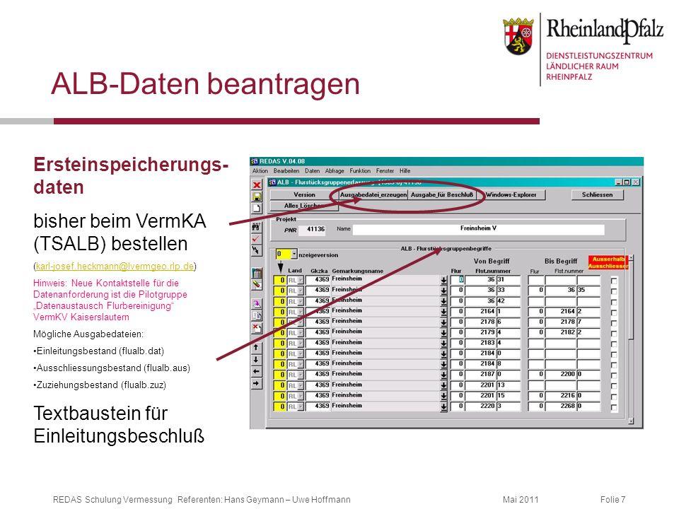 ALB-Daten beantragen Ersteinspeicherungs-daten
