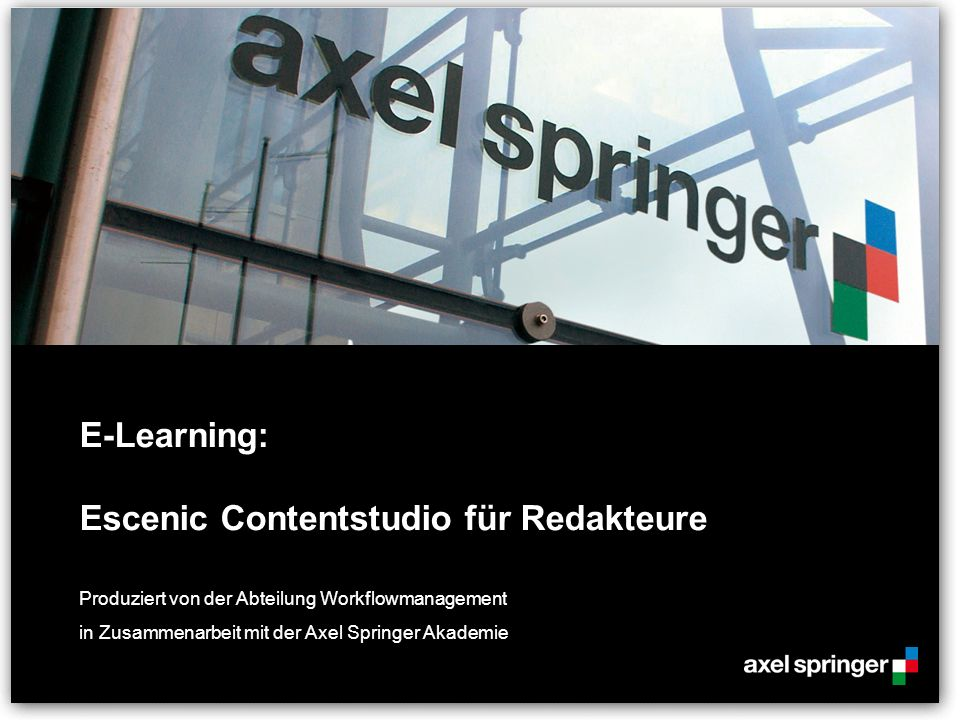 E-Learning: Escenic Contentstudio für Redakteure
