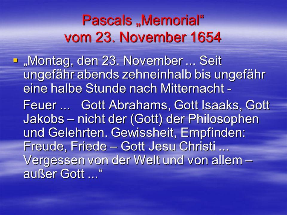 """Pascals """"Memorial vom 23. November 1654"""