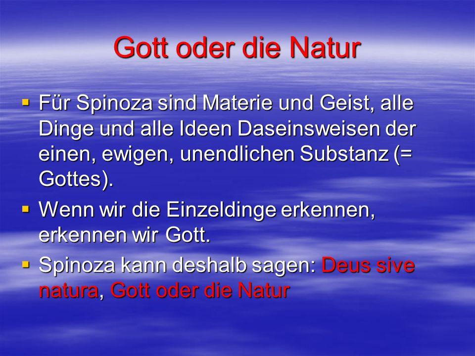Gott oder die NaturFür Spinoza sind Materie und Geist, alle Dinge und alle Ideen Daseinsweisen der einen, ewigen, unendlichen Substanz (= Gottes).