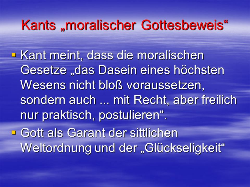"Kants ""moralischer Gottesbeweis"