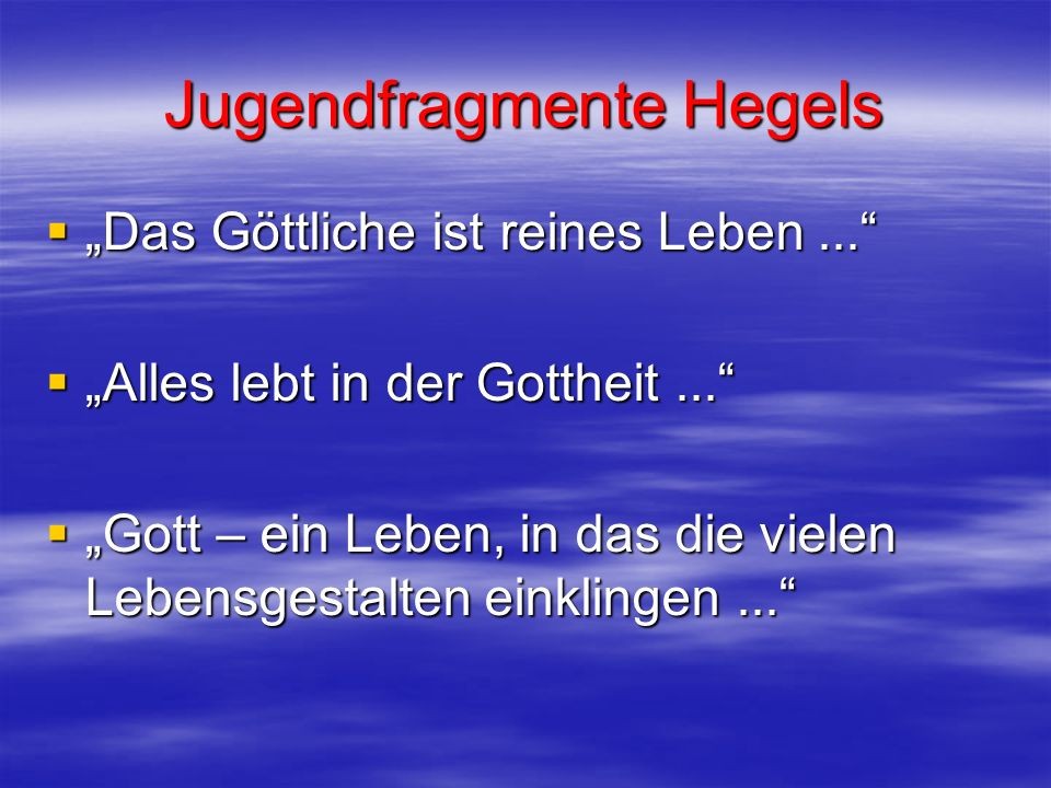 Jugendfragmente Hegels