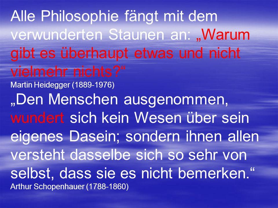 """Alle Philosophie fängt mit dem verwunderten Staunen an: """"Warum gibt es überhaupt etwas und nicht vielmehr nichts"""