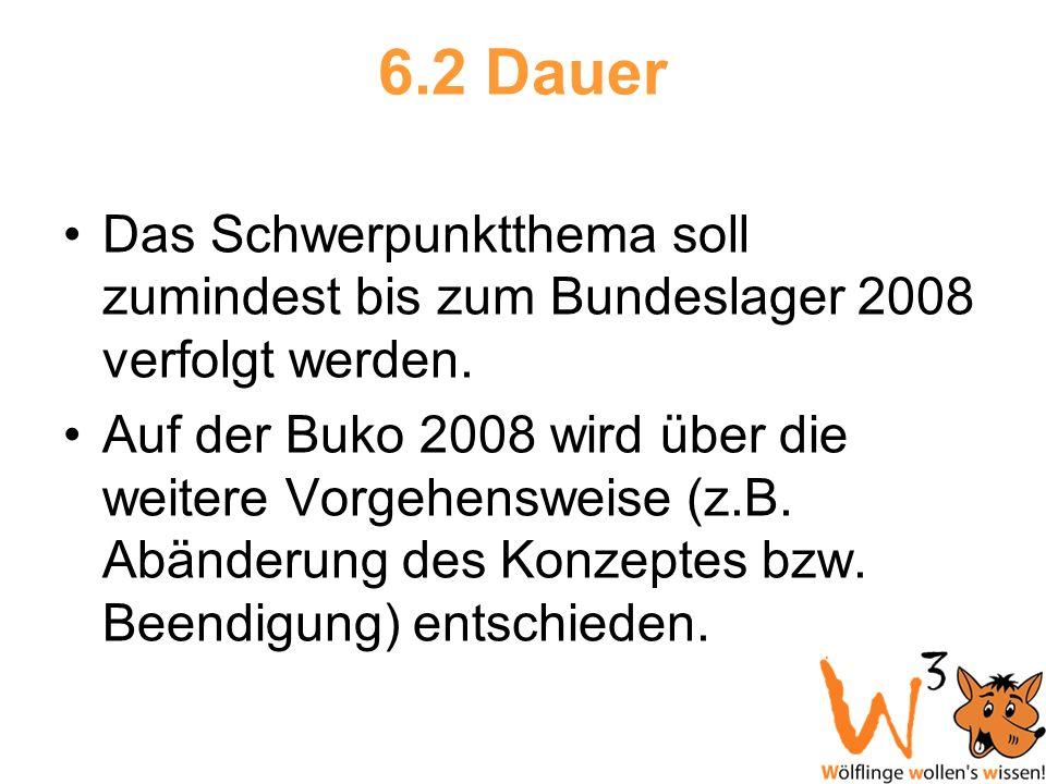 6.2 Dauer Das Schwerpunktthema soll zumindest bis zum Bundeslager 2008 verfolgt werden.