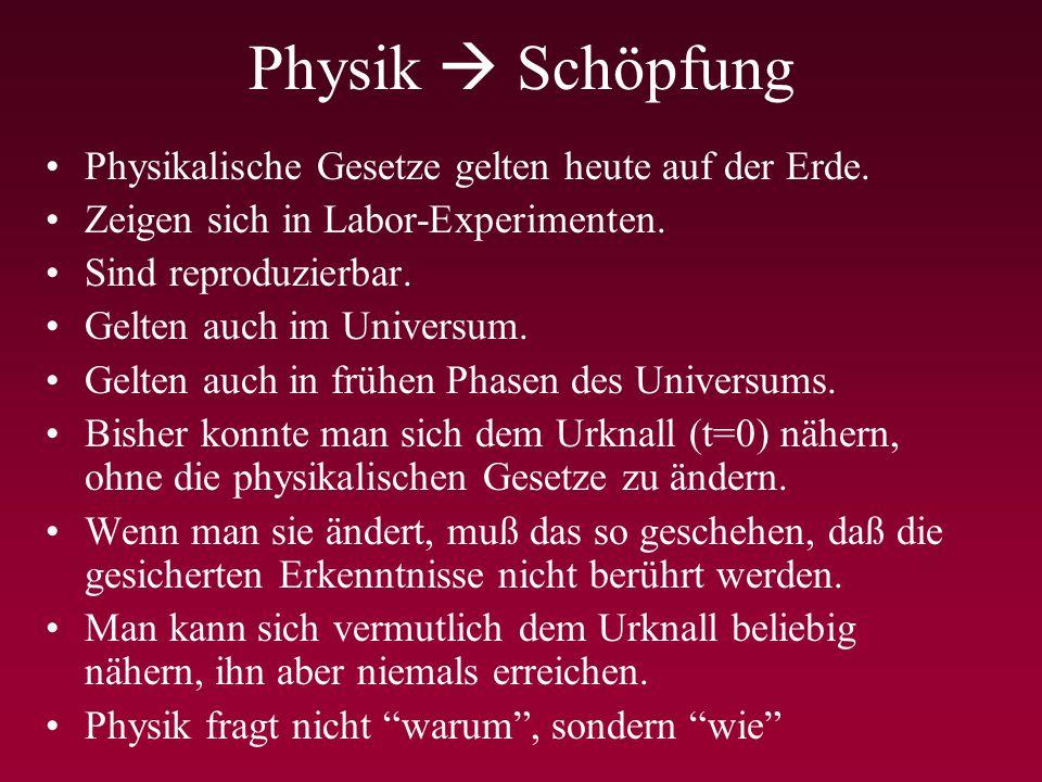 Physik  Schöpfung Physikalische Gesetze gelten heute auf der Erde.