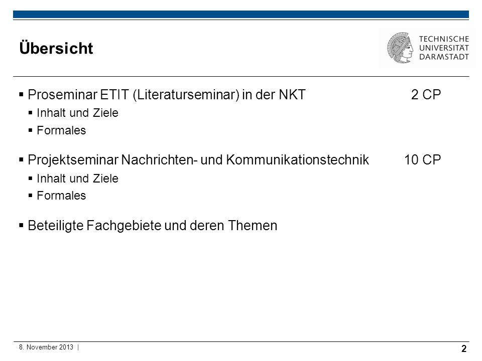 Übersicht Proseminar ETIT (Literaturseminar) in der NKT 2 CP