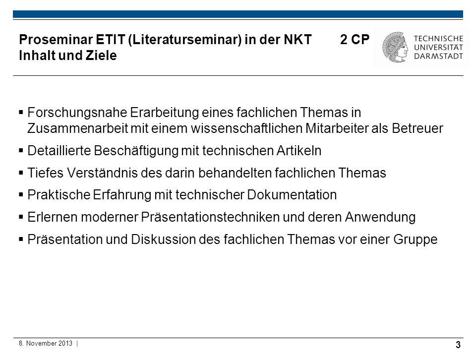 Proseminar ETIT (Literaturseminar) in der NKT 2 CP Inhalt und Ziele