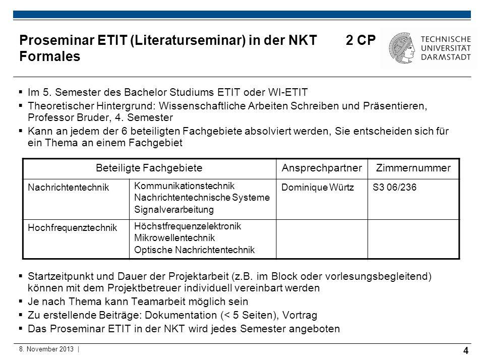 Proseminar ETIT (Literaturseminar) in der NKT 2 CP Formales
