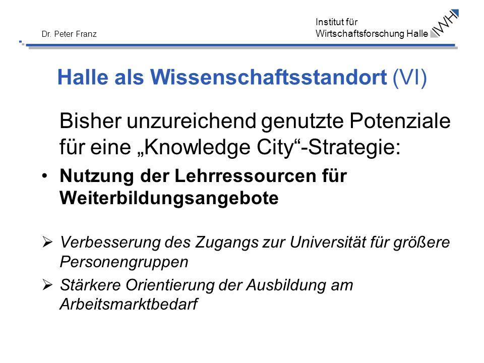 Halle als Wissenschaftsstandort (VI)