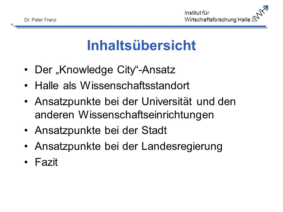 """Inhaltsübersicht Der """"Knowledge City -Ansatz"""