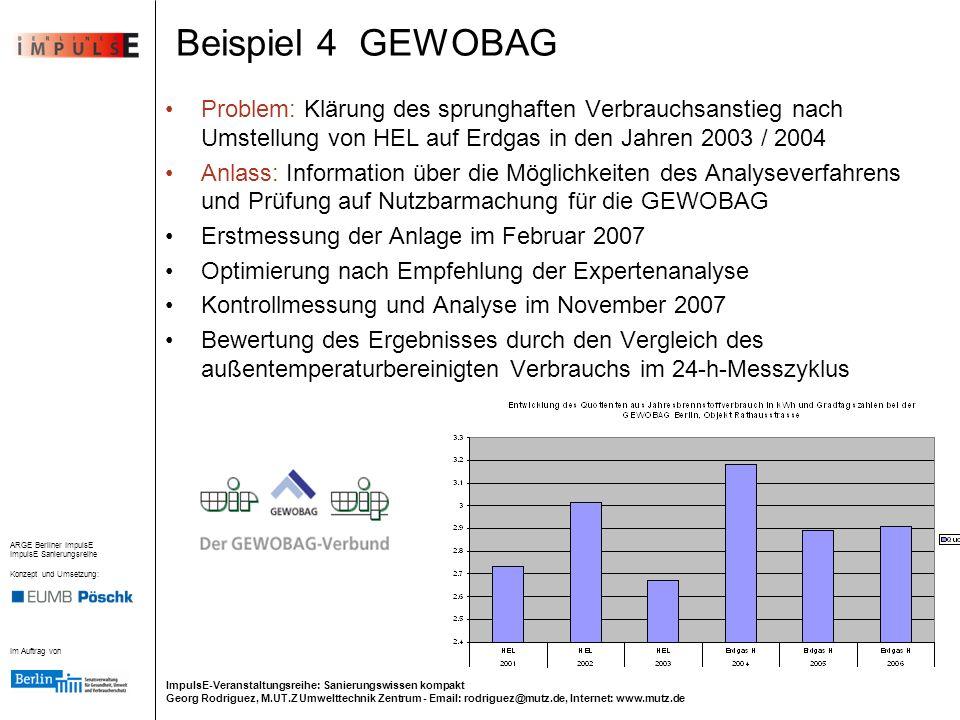 Beispiel 4 GEWOBAG Problem: Klärung des sprunghaften Verbrauchsanstieg nach Umstellung von HEL auf Erdgas in den Jahren 2003 / 2004.