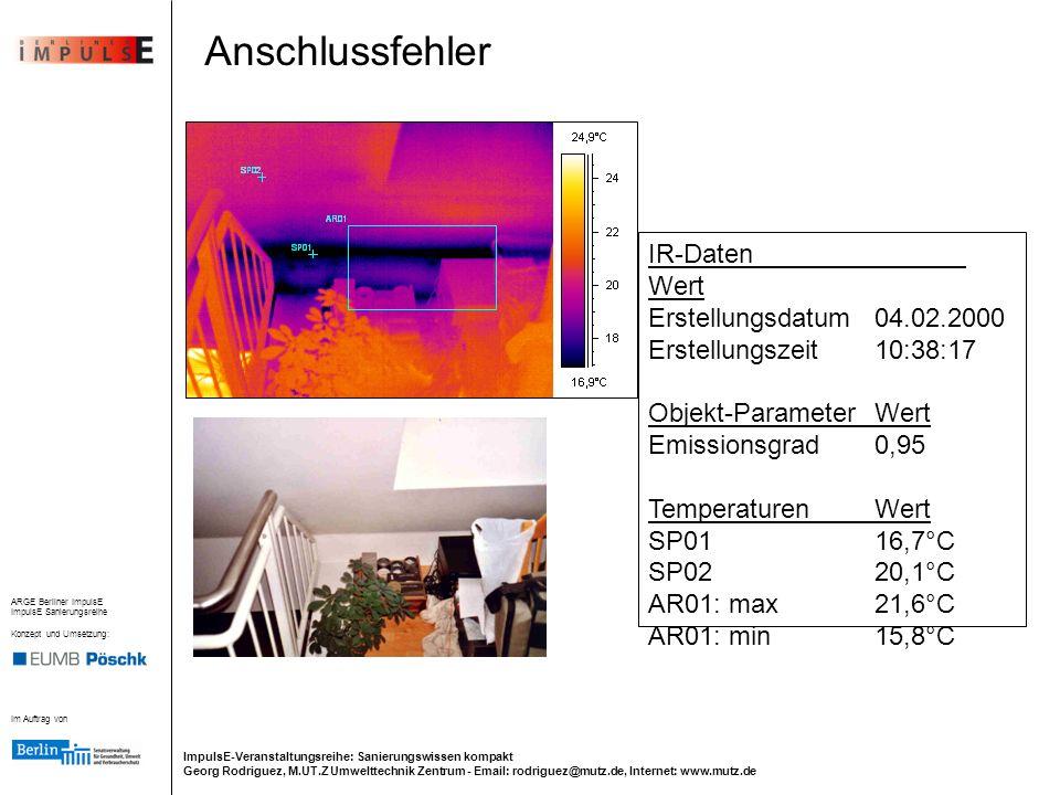 Anschlussfehler IR-Daten Wert Erstellungsdatum 04.02.2000